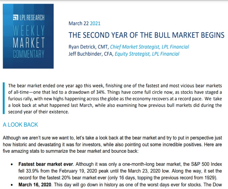 Second Year Of The Bull Market Begins   Weekly Market Commentary   March 22, 2021