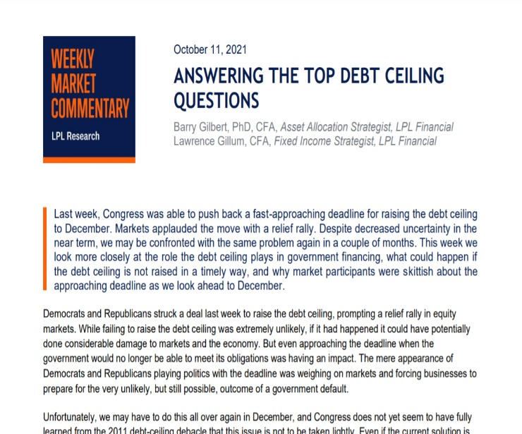 Answering the Top Debt Ceiling Questions   Weekly Market Commentary   October 11, 2021